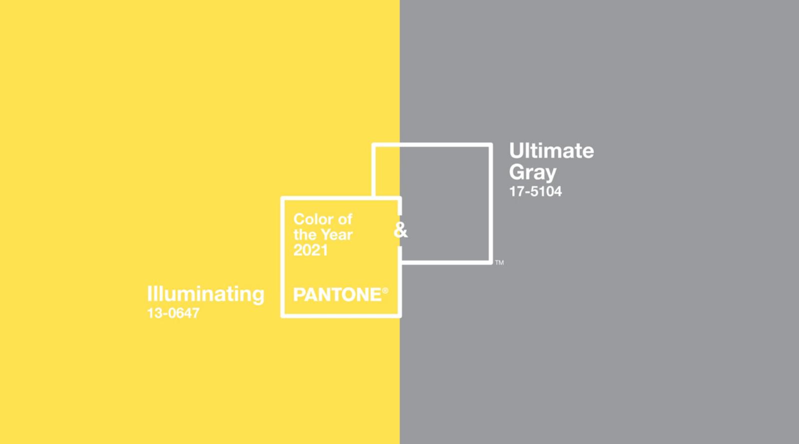 Amarelo e cinza selecionadas como as cores do ano de 2021 da Pantone.